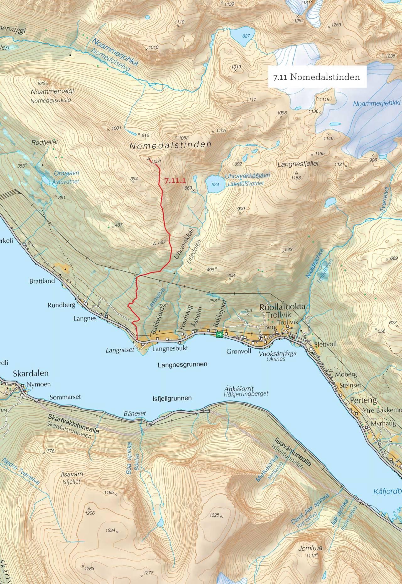 Oversiktskart over Nomedalstinden med inntegnet rute. Fra Toppturer i Troms.