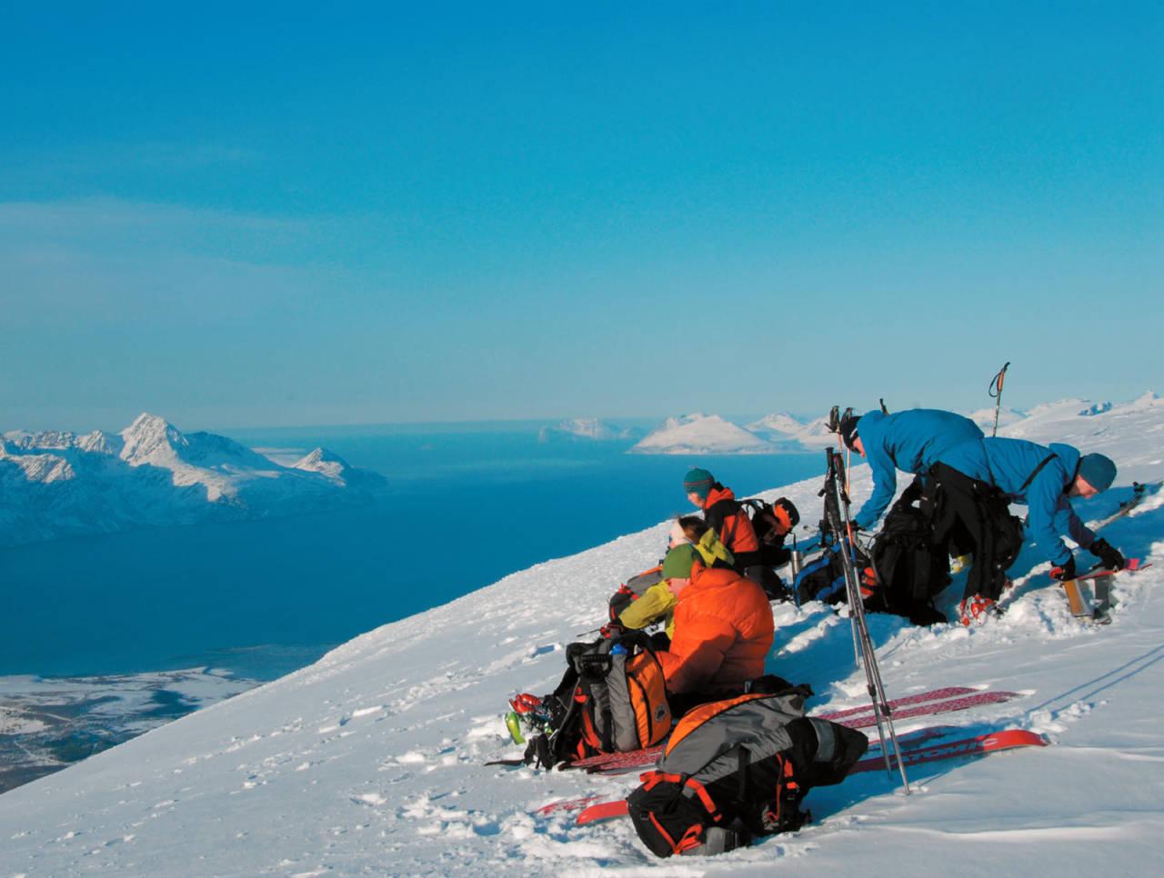 Sissel Forfang, Oddbjørn Forfang, Steffen Forfang og Heidi Berg har funnet dagens lunsjplass på toppen av Rissavàrri. Foto: Espen Nordahl. / Toppturer i Troms.