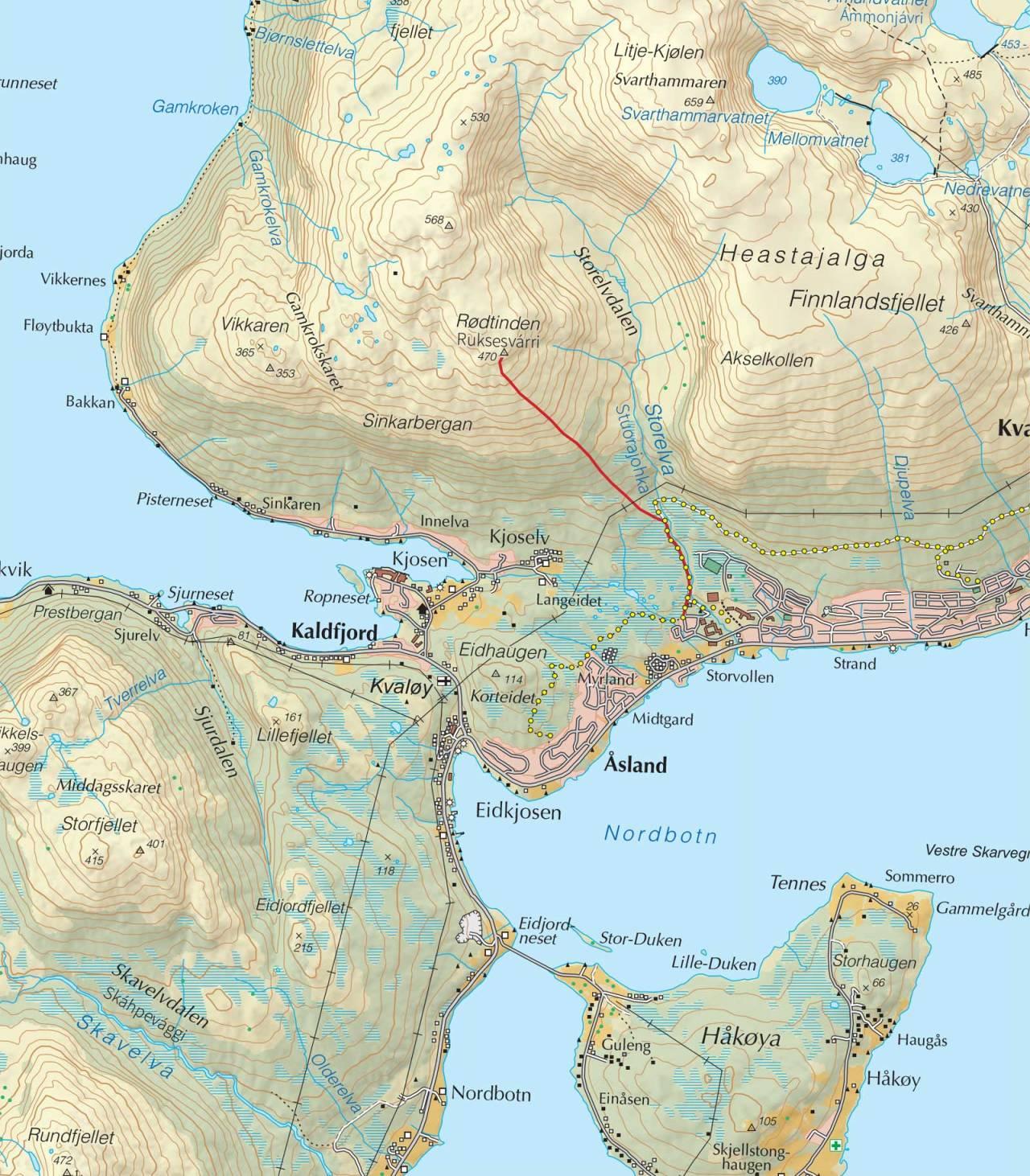 Kart over Rødtinden med inntegnet rute. Fra Trygge toppturer.