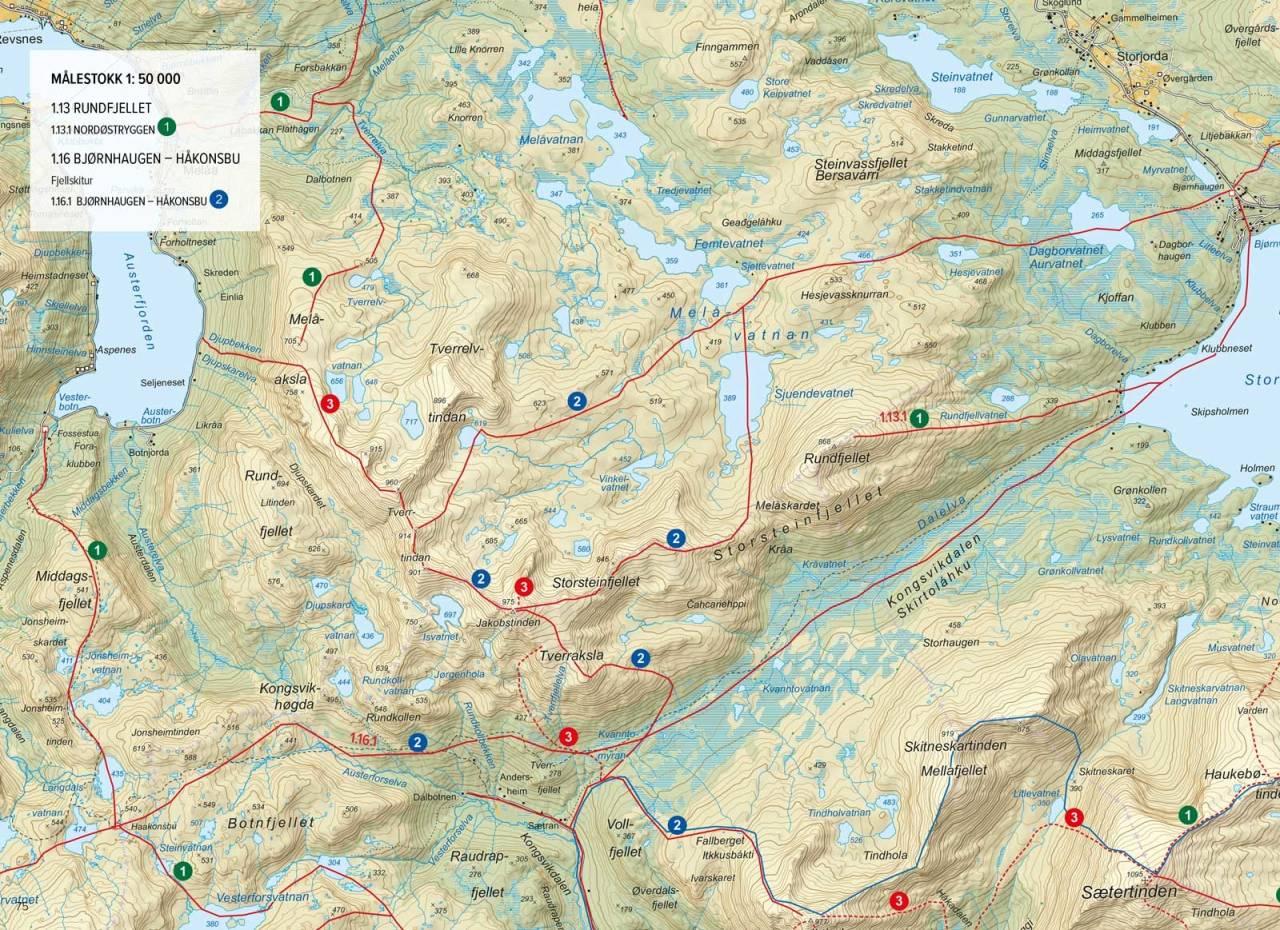 Oversikstkart med inntegnet rute. Fra Toppturer rundt Harstad