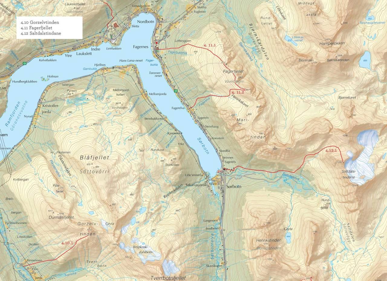 Oversiktskart over Saltdalstindane med inntegnet rute. Fra Toppturer i Troms.