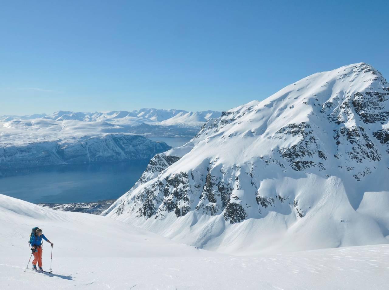 En skikkelig bakgårdstopp. Heidi Berg inne i sjarmøretappen mot toppen av Skàvlevarri. Foto: Espen Nordahl. / Toppturer i Troms.