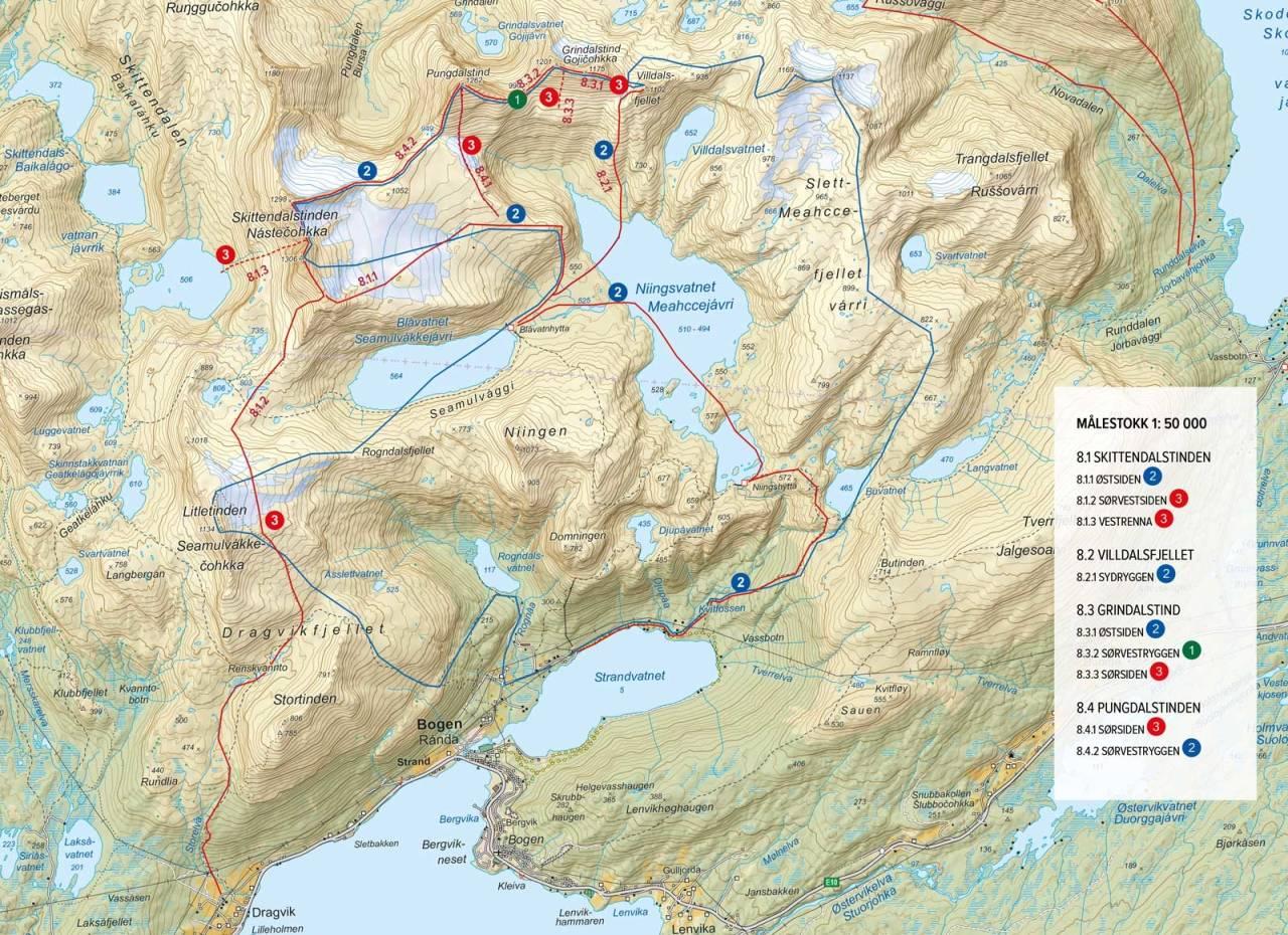 Oversiktskart med inntegnet rute. Fra Topptur rundt Harstad