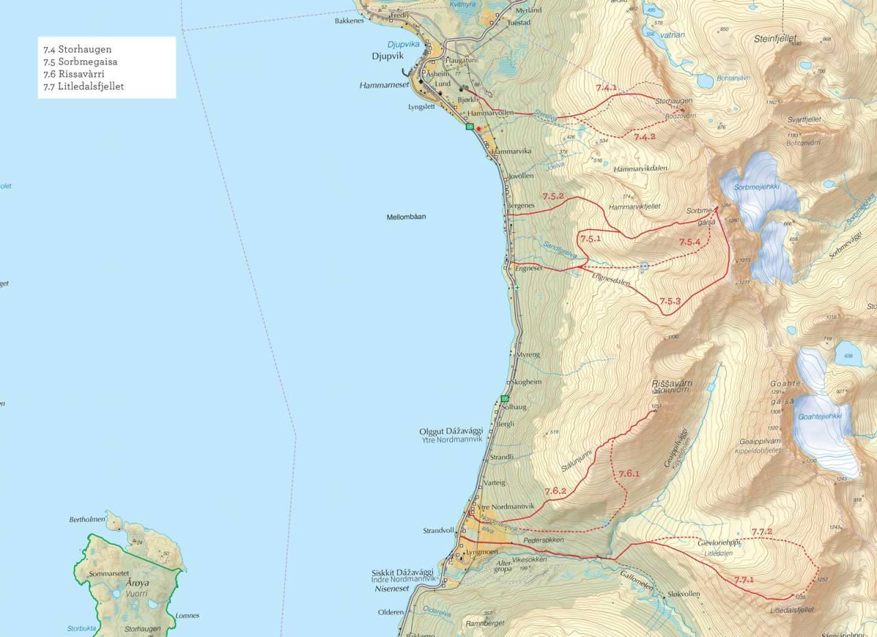 Oversiktskart over Sorbmegaisa med inntegnet rute. Fra Toppturer i Troms.