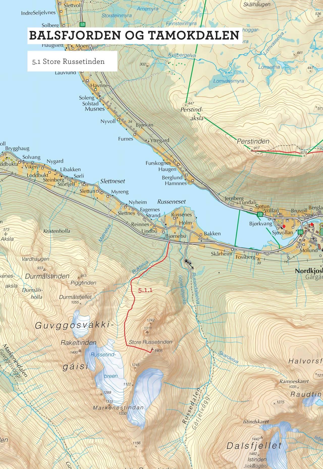 Oversiktskart over Store Russetinden med inntegnet rute. Fra Toppturer i Troms.