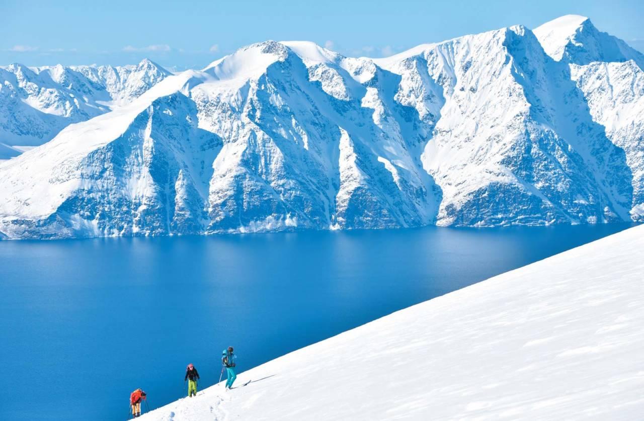 Deltakere på Cafe Flyt-tur ser frem til å få nyte kaffen på toppen av Storhaugen. Foto: Espen Nordahl. / Toppturer i Troms.