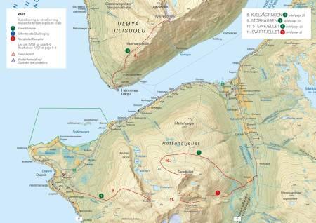 Oversiktkart med inntegnet rute.