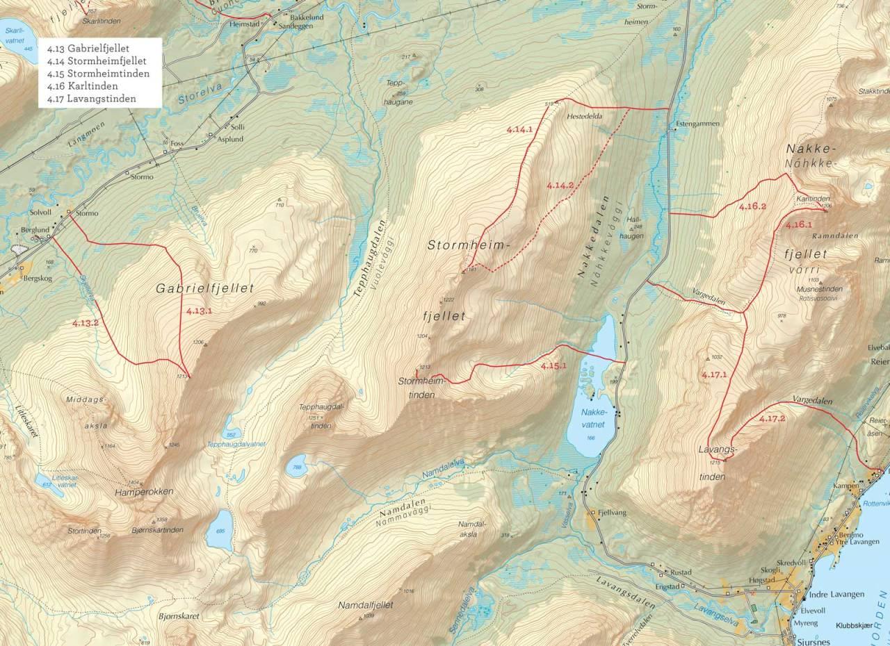 Oversiktskart over Stormheimfjellet med inntegnet rute. Fra Toppturer i Troms.