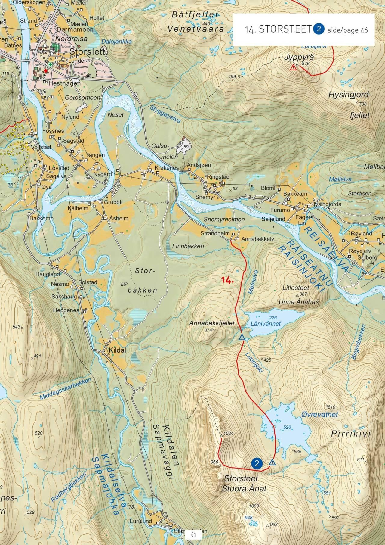 Oversiktskart med inntegnet rute.