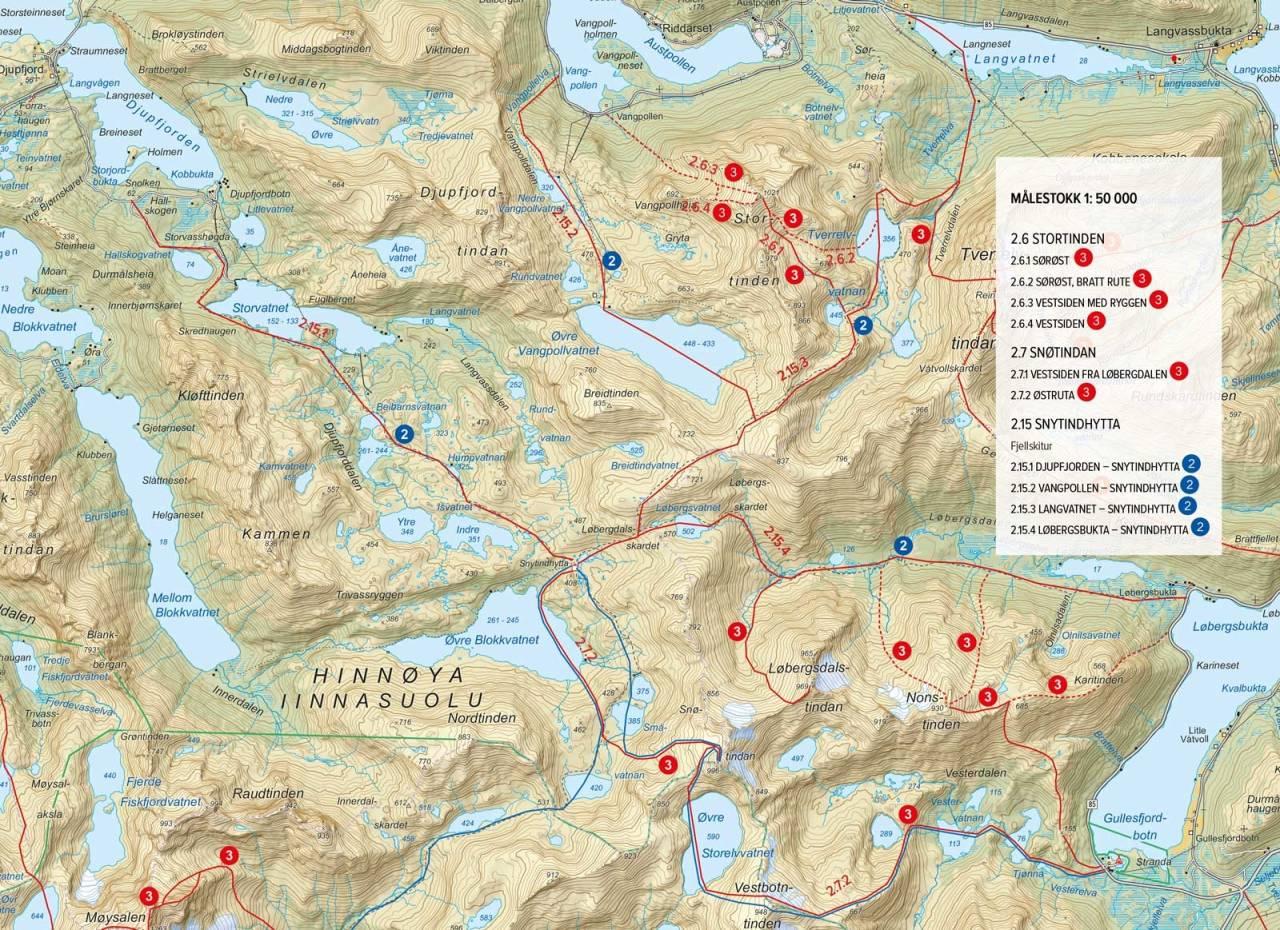Oversiktskart med inntegnet rute. Fra Toppturer i Harstad