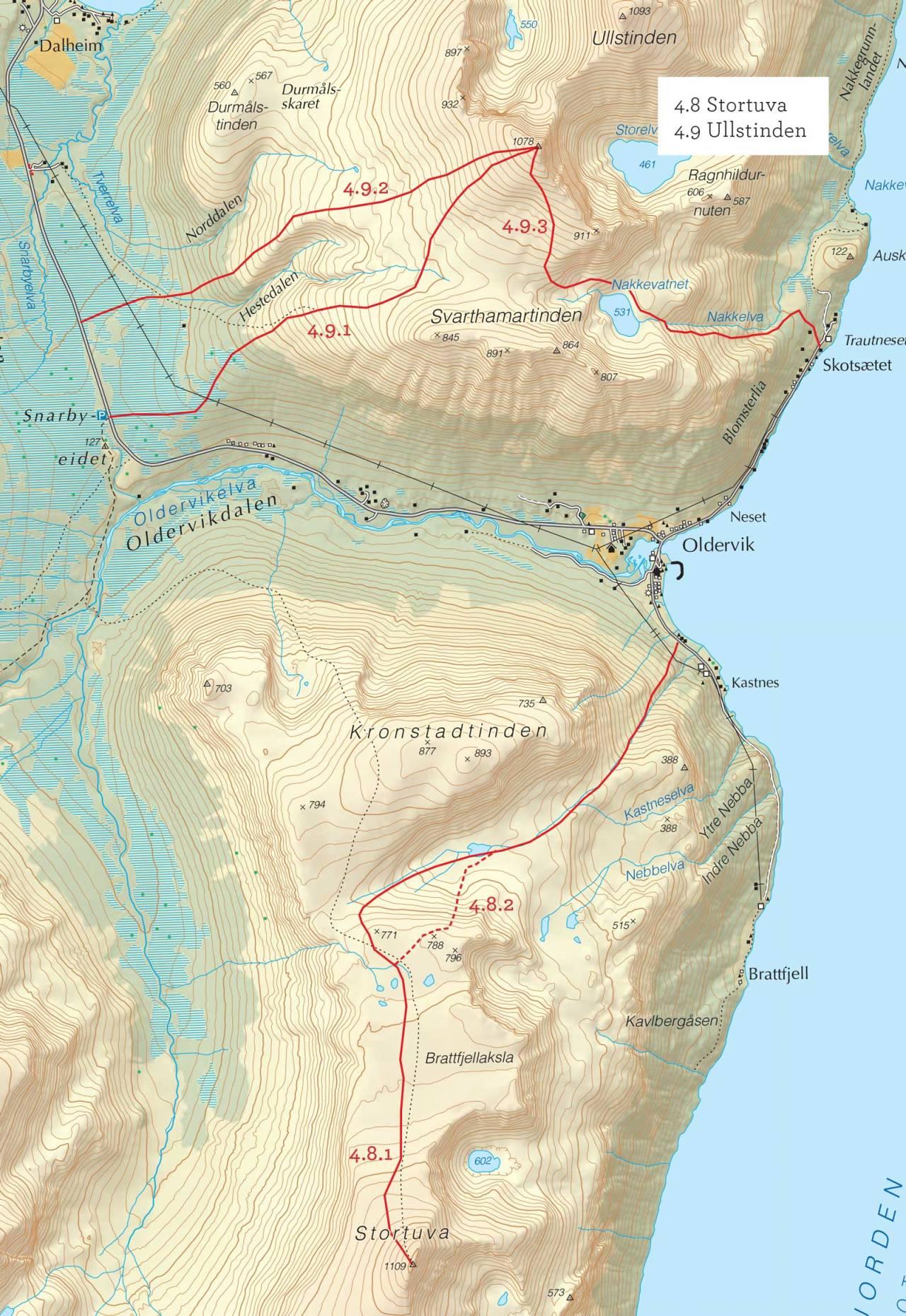 Oversiktskart over Stortuva med inntegnet rute. Fra Toppturer i Troms.