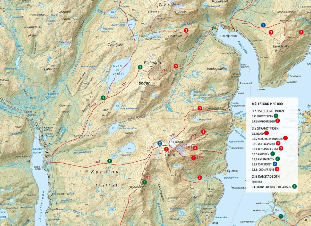 Oversiktskart med inntegenet rute. Fra Toppturer rundt Harstad