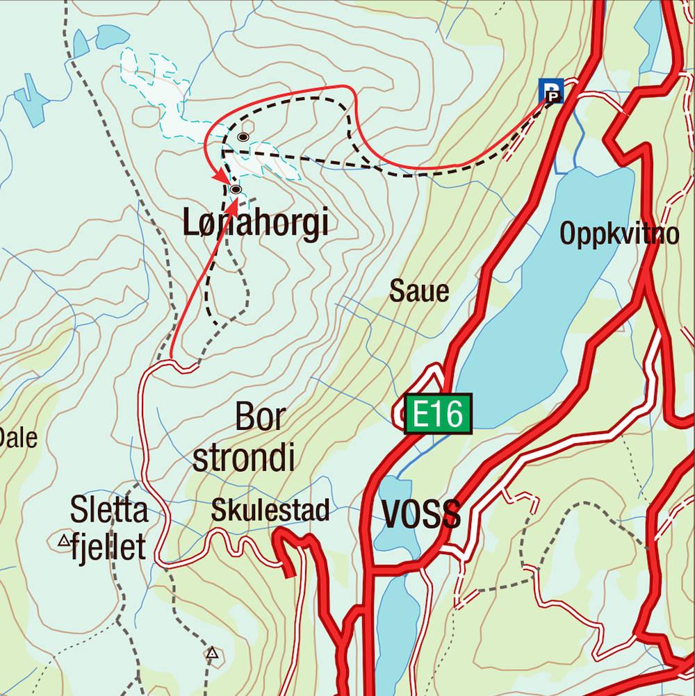 Kart for Lønahorgi på Voss