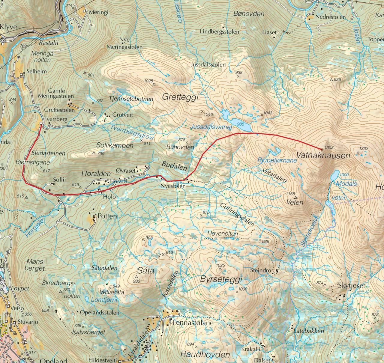 Kart over Vatnaknausen med inntegnet rute. Fra Trygge toppturer.