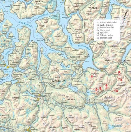 Oversiktskart over Balsdjorden og Tamokdalen. Fra Toppturer i Troms.