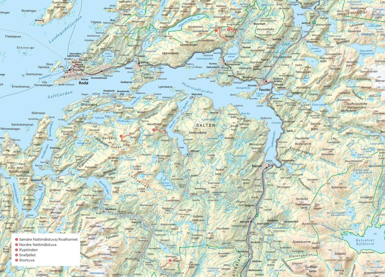Oversiktskart over Bodø. Fra Trygge toppturer.
