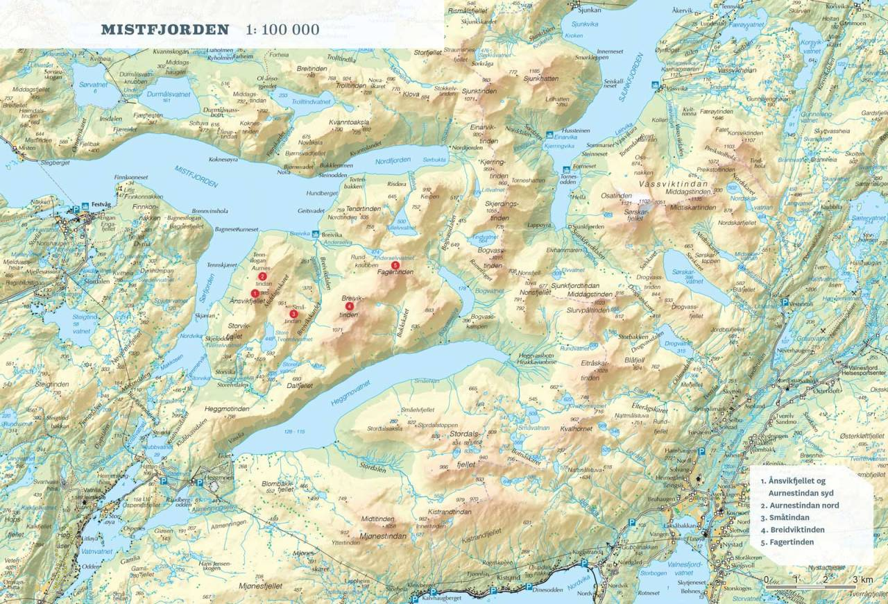 Oversiktskart over Mistfjorden. Fra Toppturer rundt Bodø.