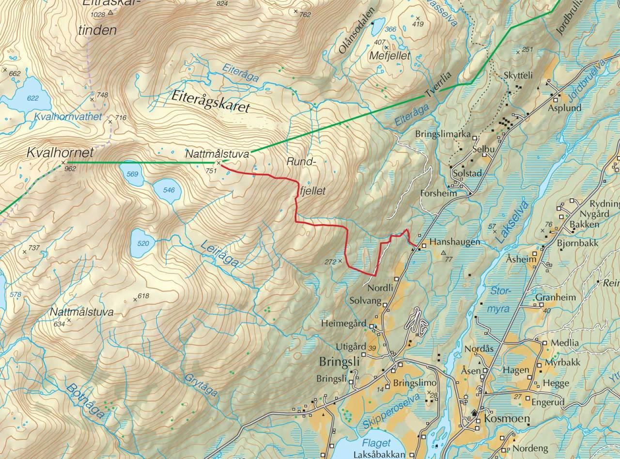 Kart over Nordre Nattmålstuva med inntegnet rute. Fra Trygge toppturer.
