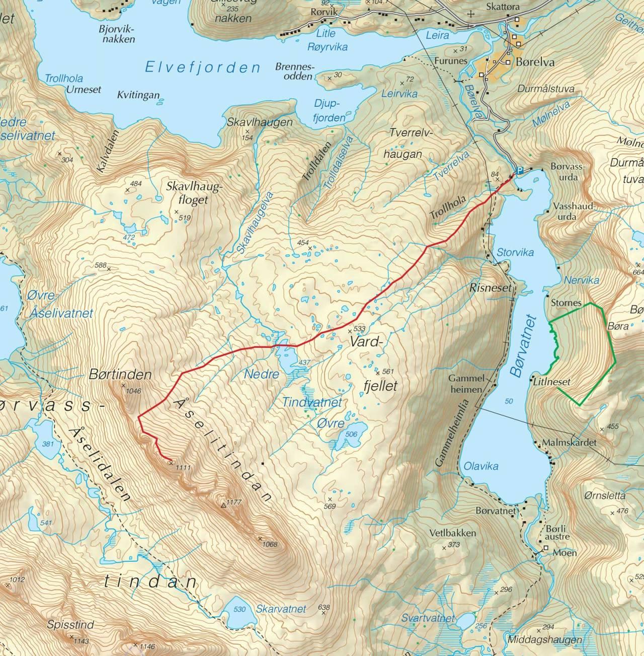 Kart over Ryptinden med inntegnet rute. Fra Trygge toppturer.