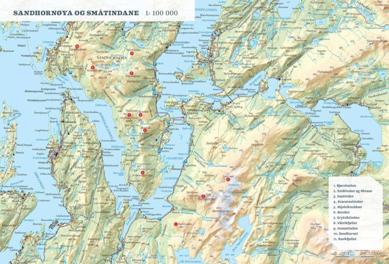 Oversiktskart over Sandhornøya og Småtindan. Fra Toppturer rundt Bodø.