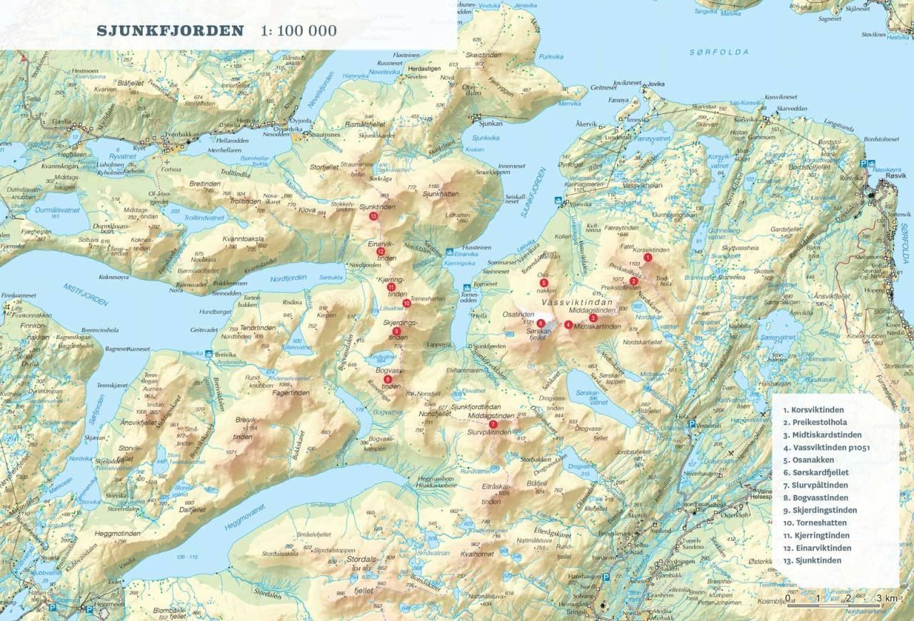 Oversiktskart over Sjunktinden. Fra Toppturer rundt Bodø.
