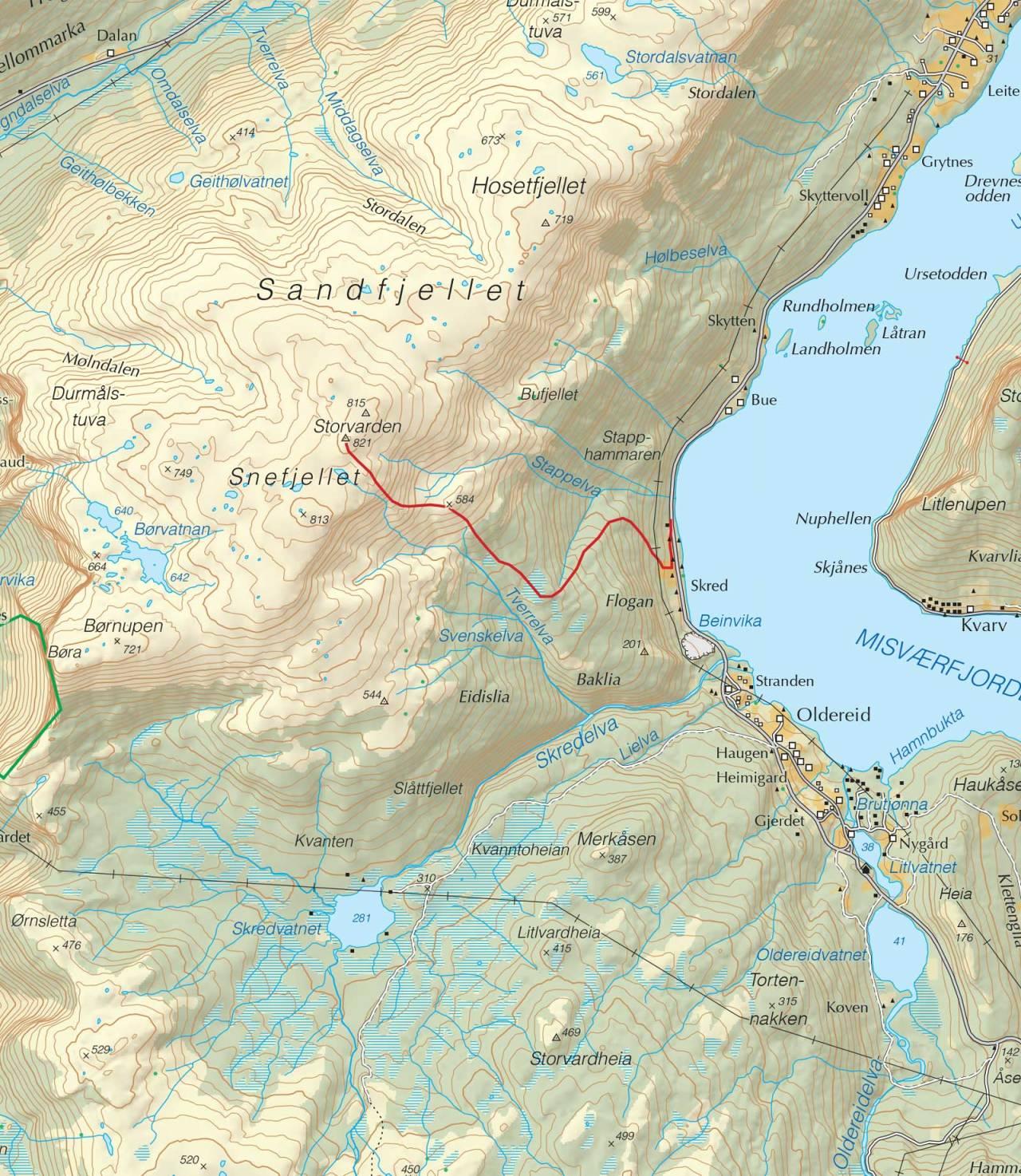 Kart over Snefjellet med inntegnet rute. Fra Trygge toppturer.