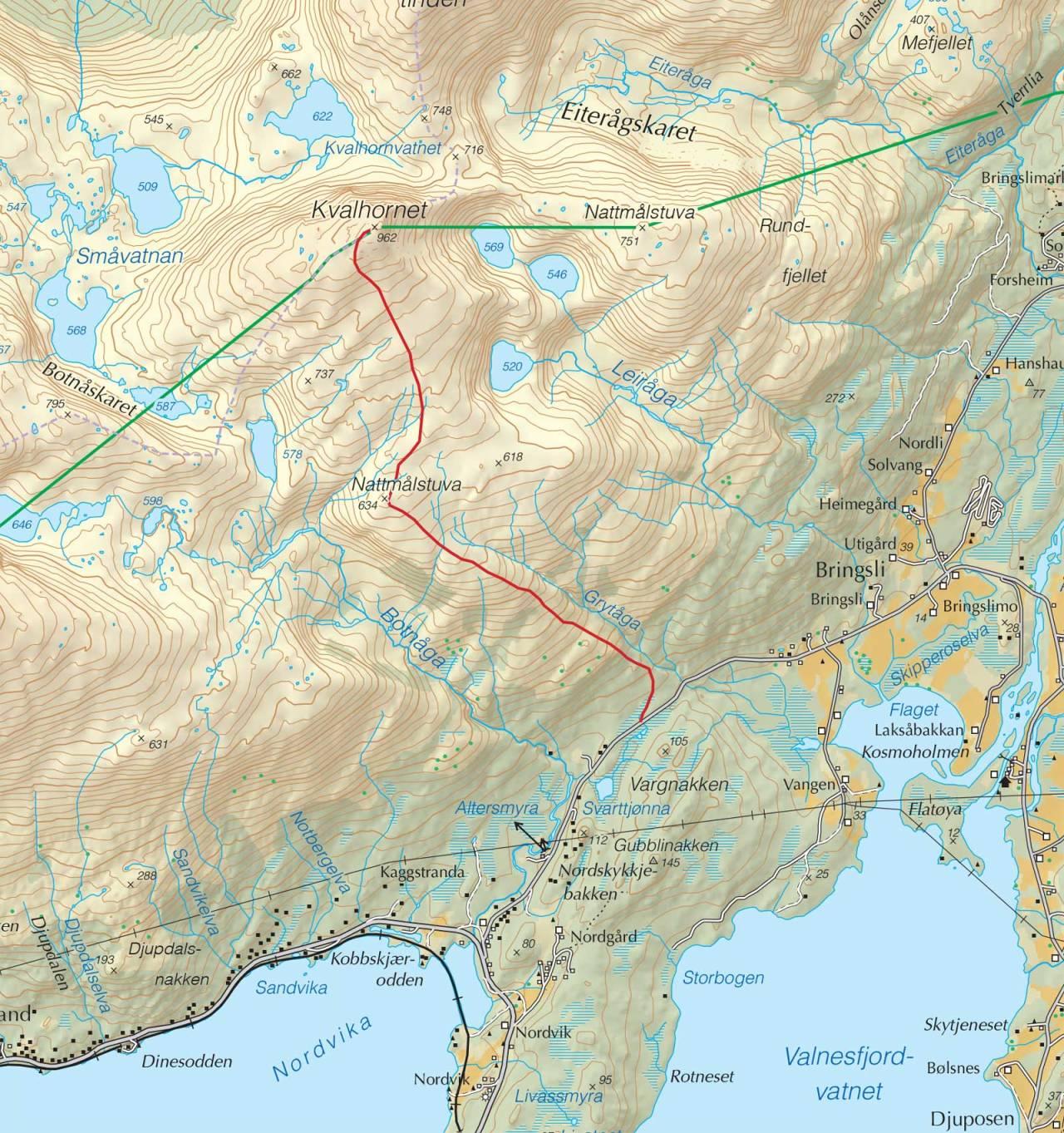 Kart over Søndre Nattmålstuva og Kvalhornet med inntegnet rute. Fra Trygge toppturer