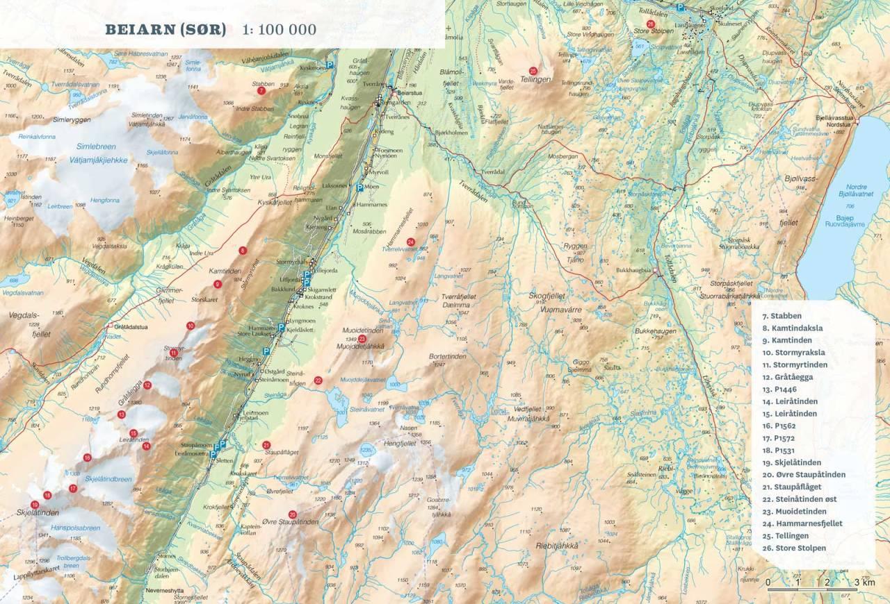 Oversiktskart over Beiarn Sør. Fra Toppturer rundt Bodø.