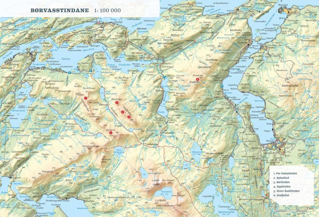 Oversiktskart over Børvasstindane. Fra Toppturer rundt Bodø.
