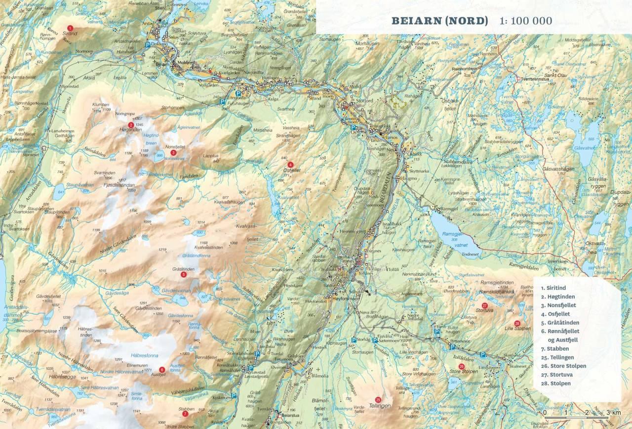 Oversiktskart over Beiarn Nord. Fra Toppturer rundt Bodø.