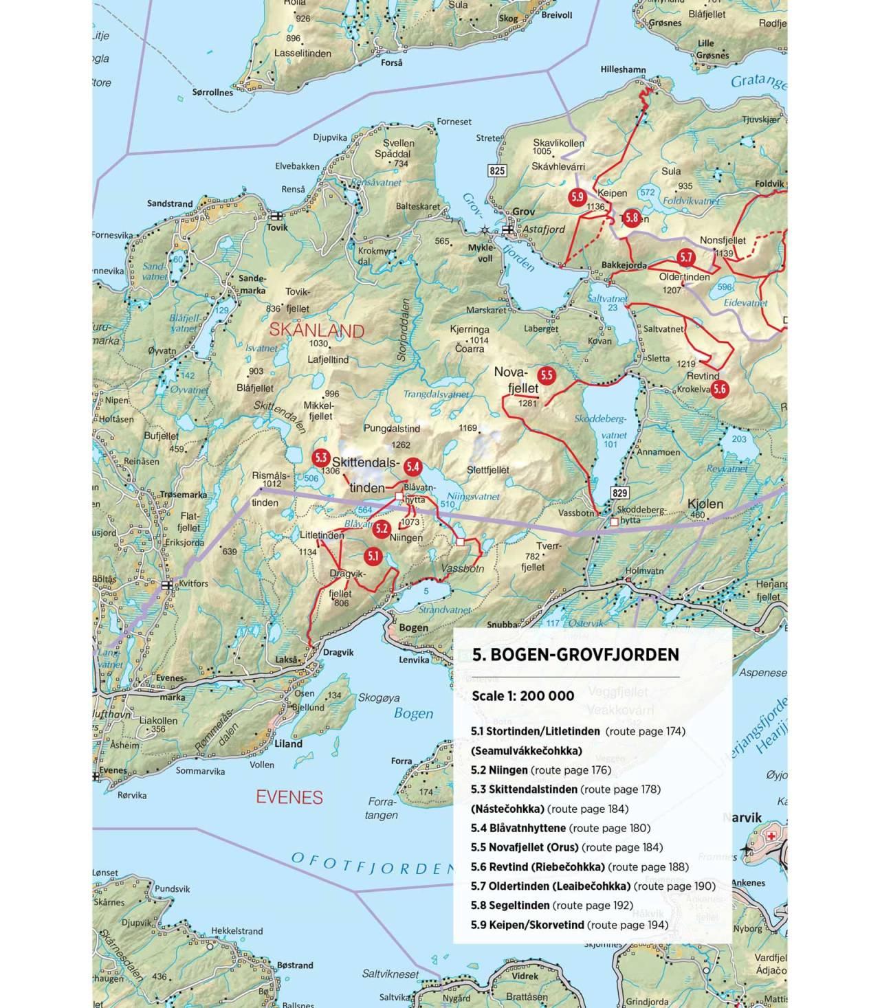 Oversiktskart over Bogen og Grovfjord. Fra Toppturer rundt Narvik.