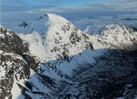 Durmålstinden fra nordøst. Foto: Rune Dahl / Toppturer rundt Narvik.