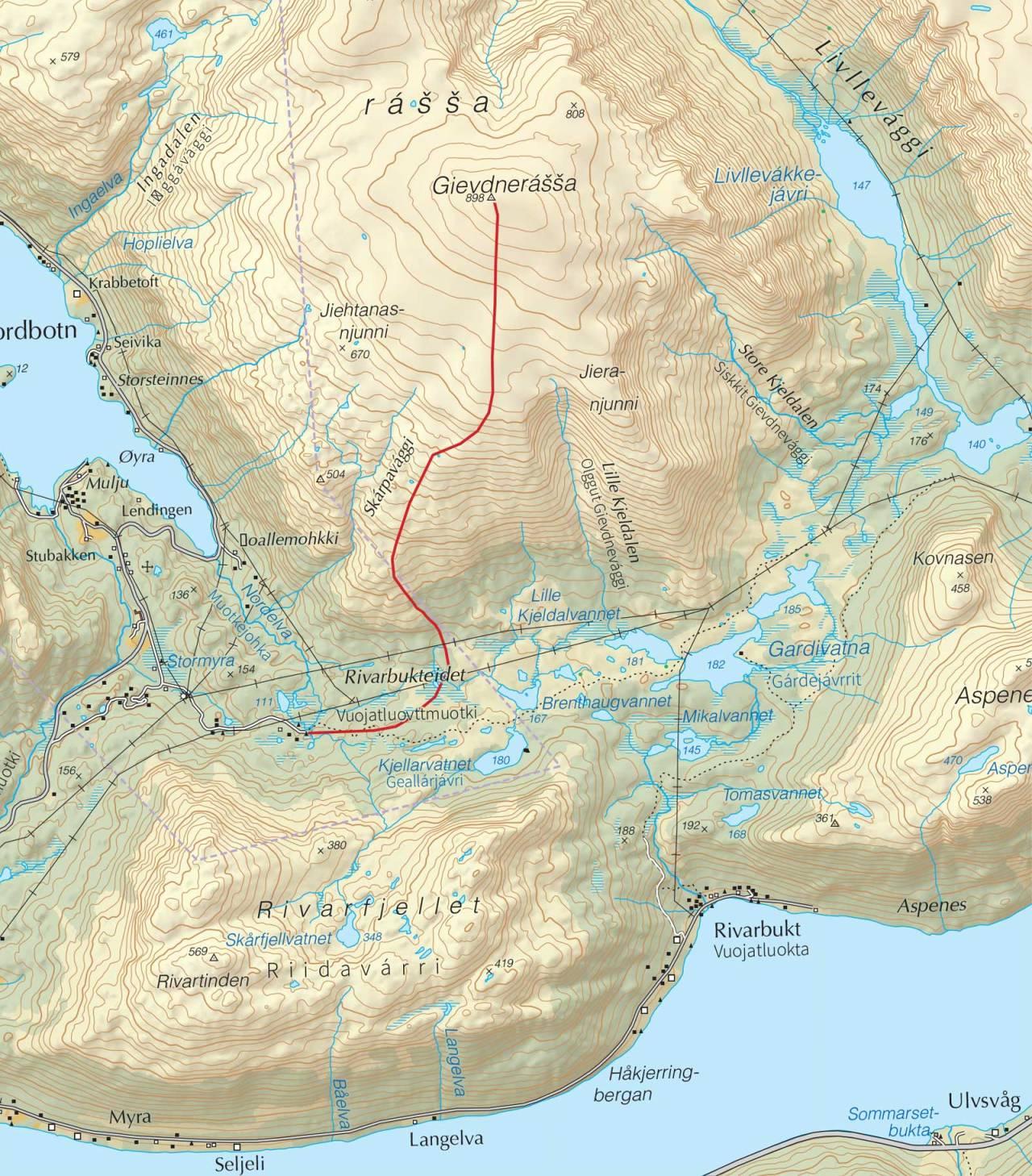 Kart over Gievdenerassa med inntegnet rute. Fra Trygge toppturer.