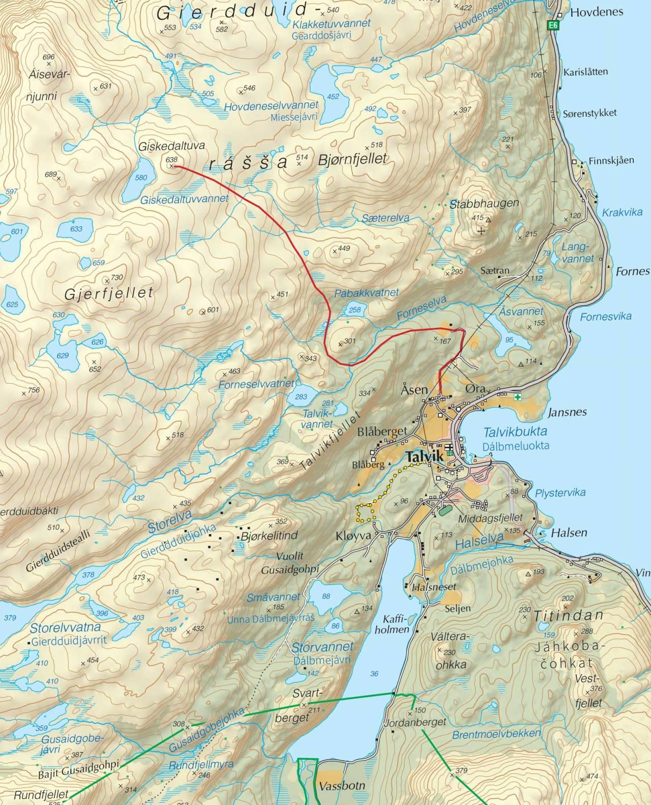 Kart over Giskedalstuva med inntegnet rute. Fra Trygge toppturer.