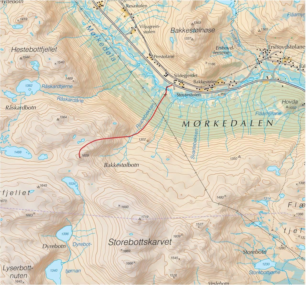Kart over 1609 med inntegnet rute. Fra Trygge toppturer.