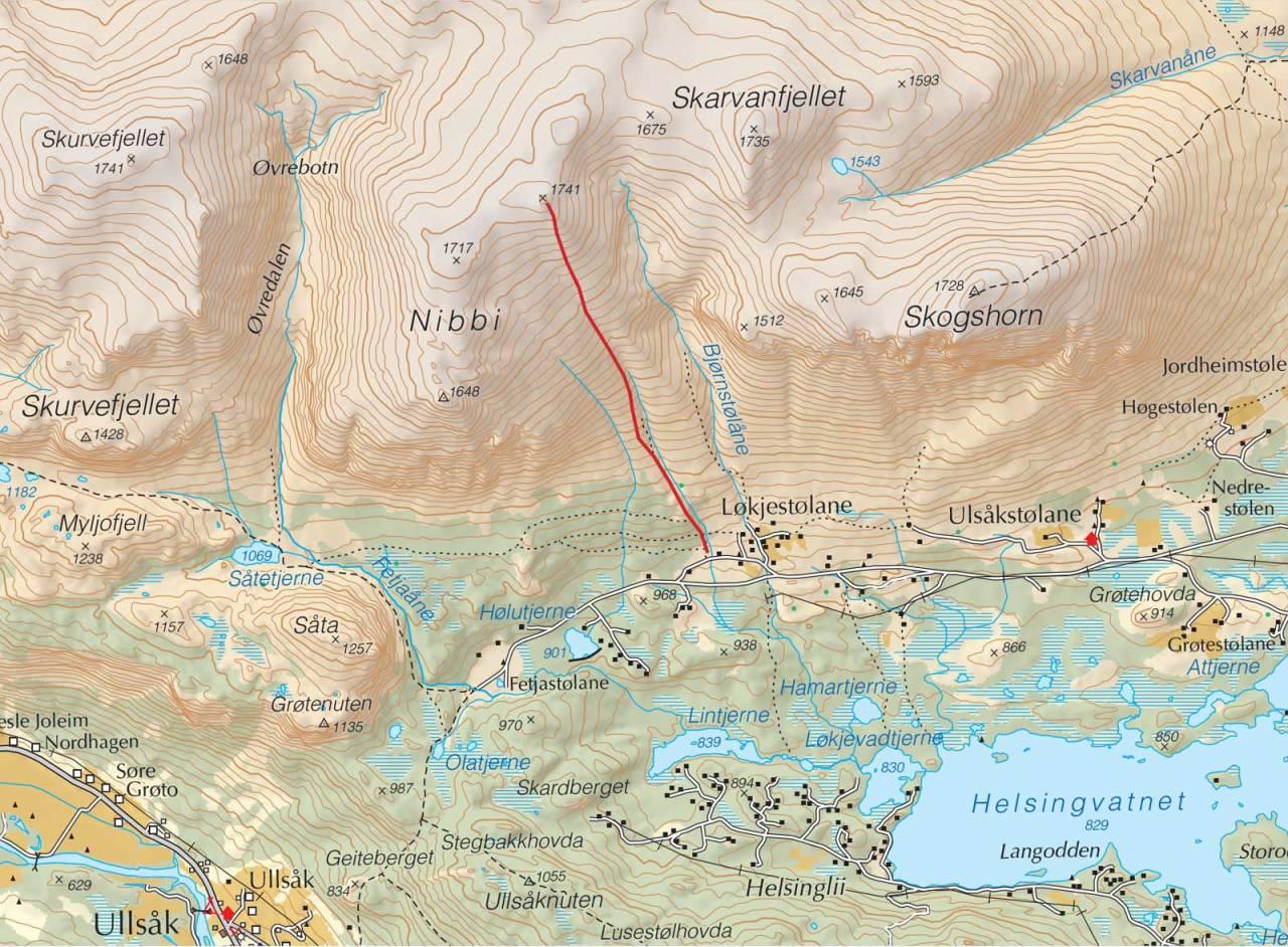 Kart over Nibbi med inntegnet rute. Fra Trygge toppturer