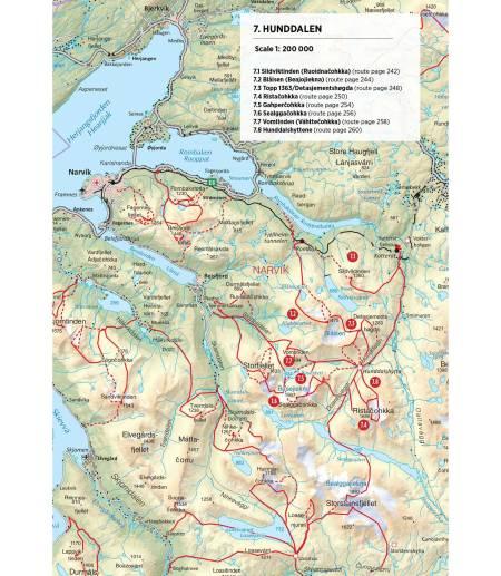 Kart over Hunddalen. Fra Toppturer rundt Narvik.