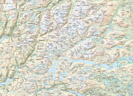 Kart over Jotunheimen og Hurrungane.