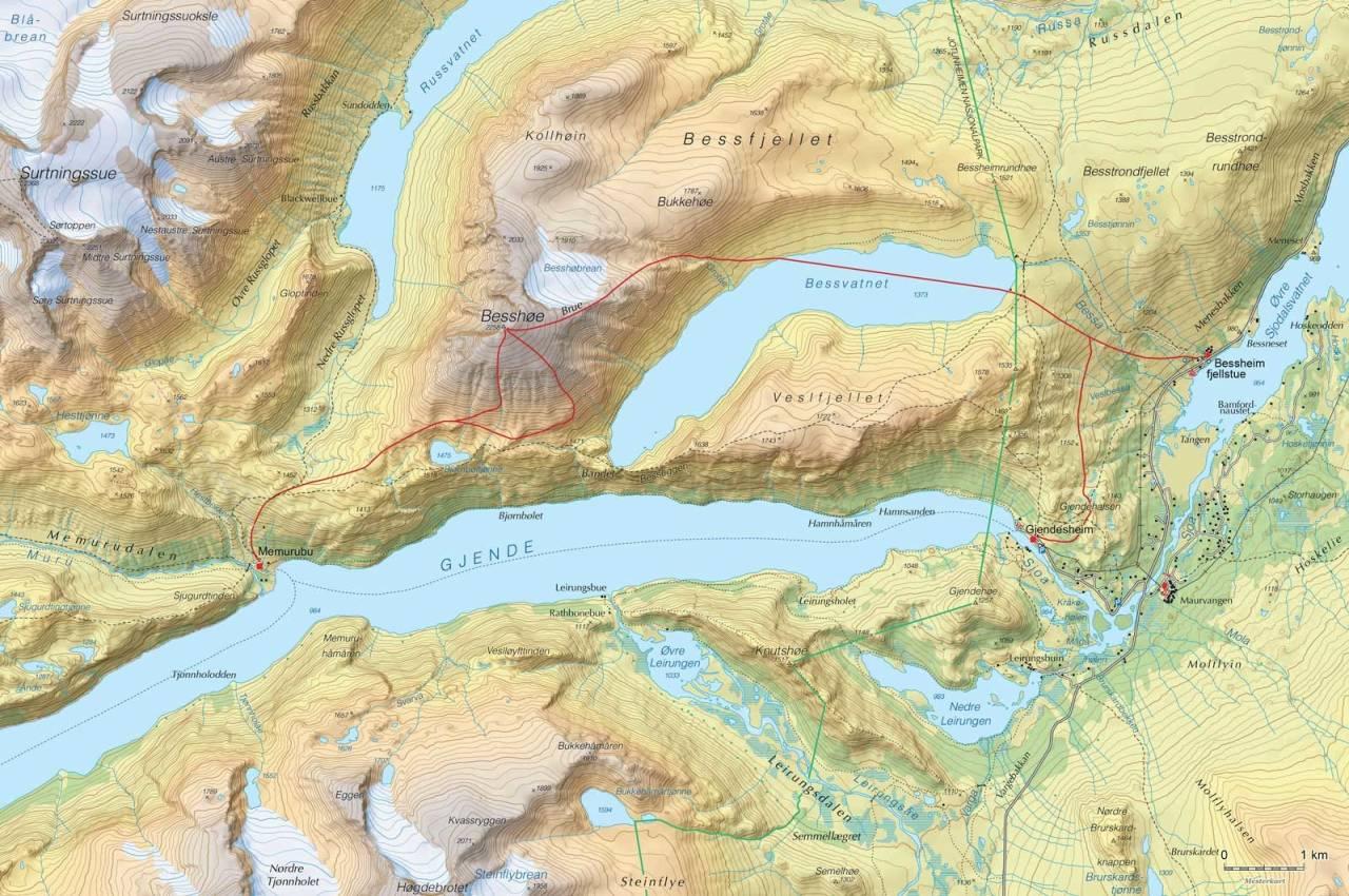Kart over Høgruta dag 1 med inntegnet rute. Fra Høgruta i Jotunheimen