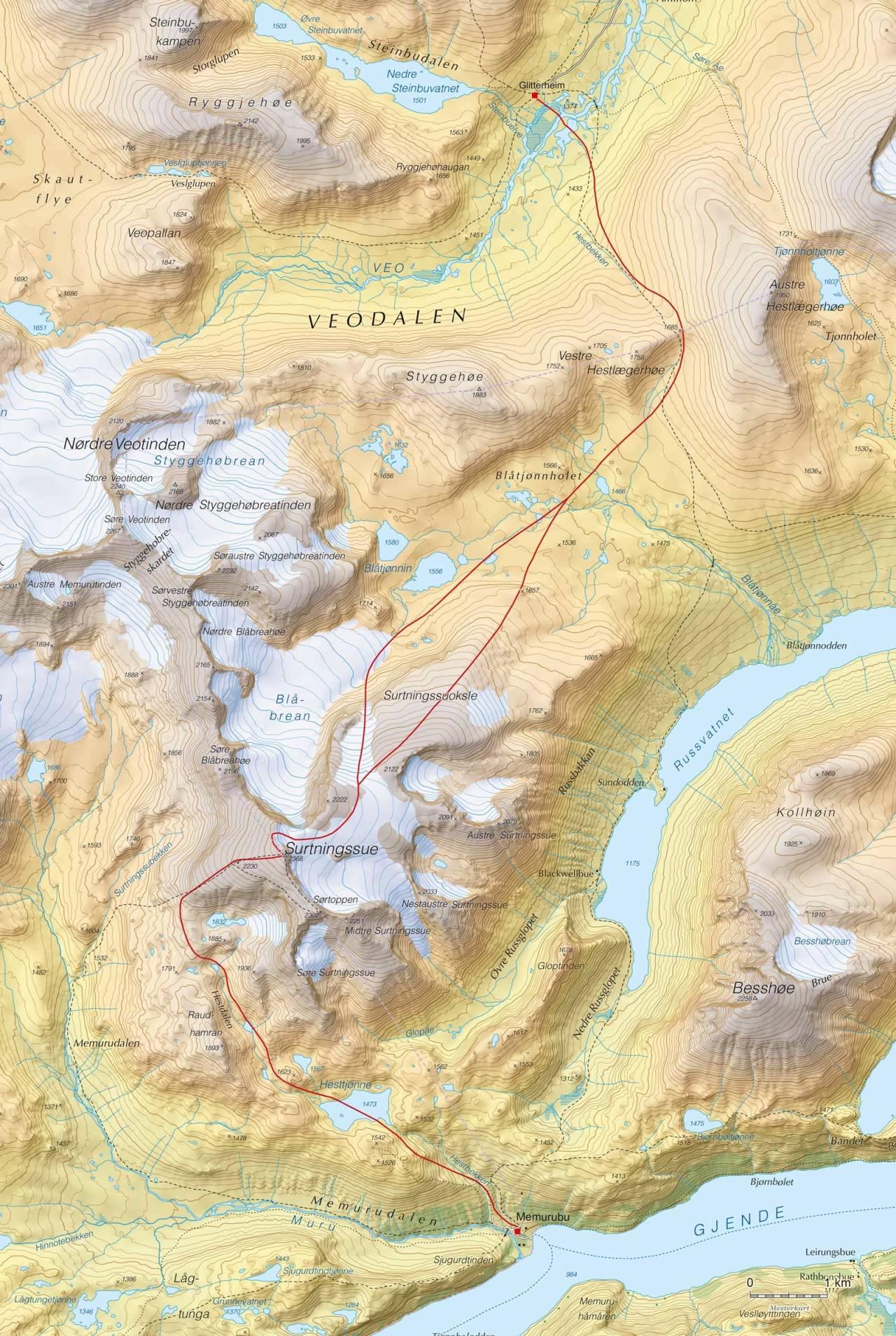 Kart over Høgruta i Jotunheimen dag 2 med inntegnet rute. Fra Høgruta i Jotunheimen.