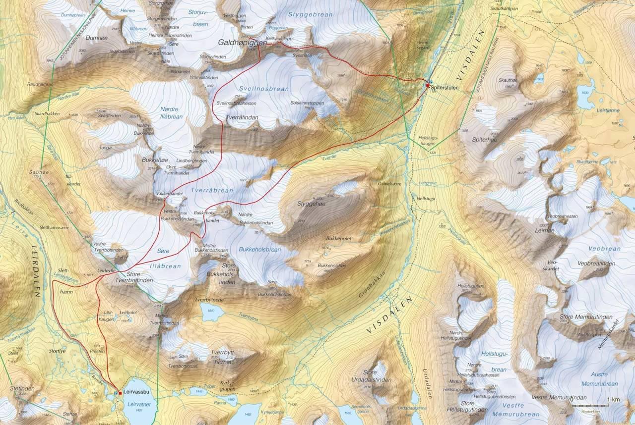 Kart over Høgruta i Jotunheimen dag 4 med inntegnet rute. Fra Høgruta i Jotunheimen.