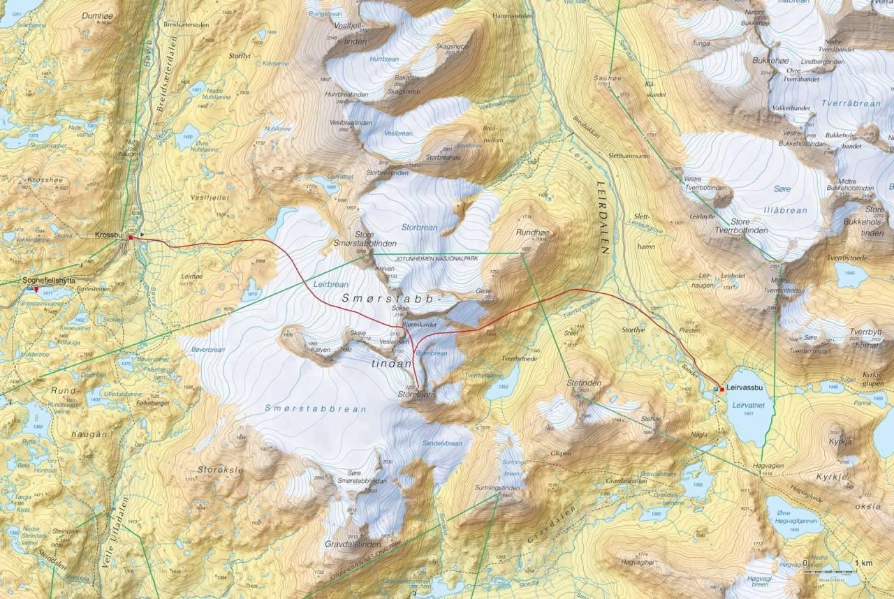 Kart over Høgruta i Jotunheimen dag 5 med inntegnet rute. Fra Høgruta i Jotunheimen.