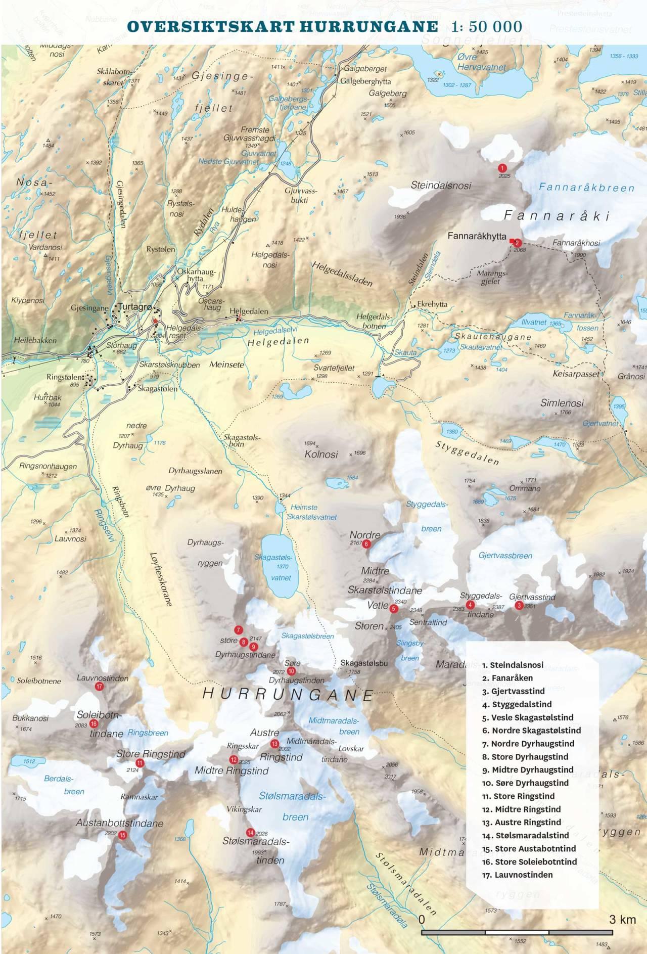 Oversiktskart over Hurrungane. Frå Toppturar i Sogn.,
