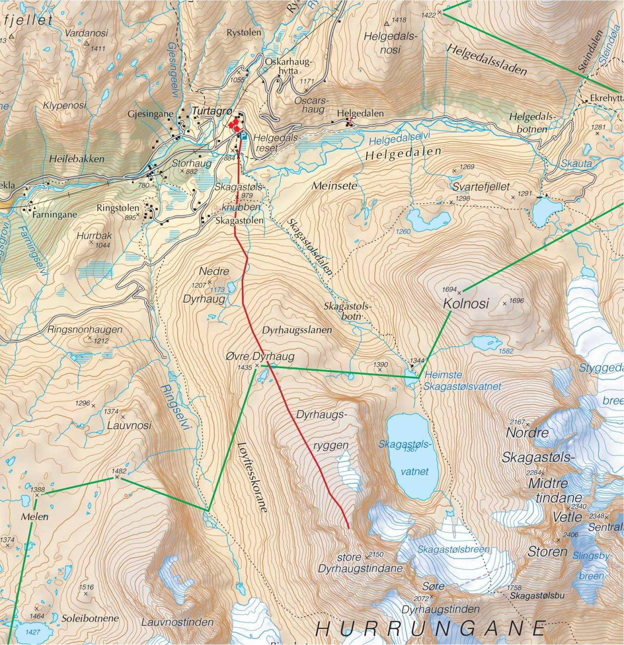 Kart over Nordre Dyrhaugstind med inntegnet rute. Fra Trygge toppturer