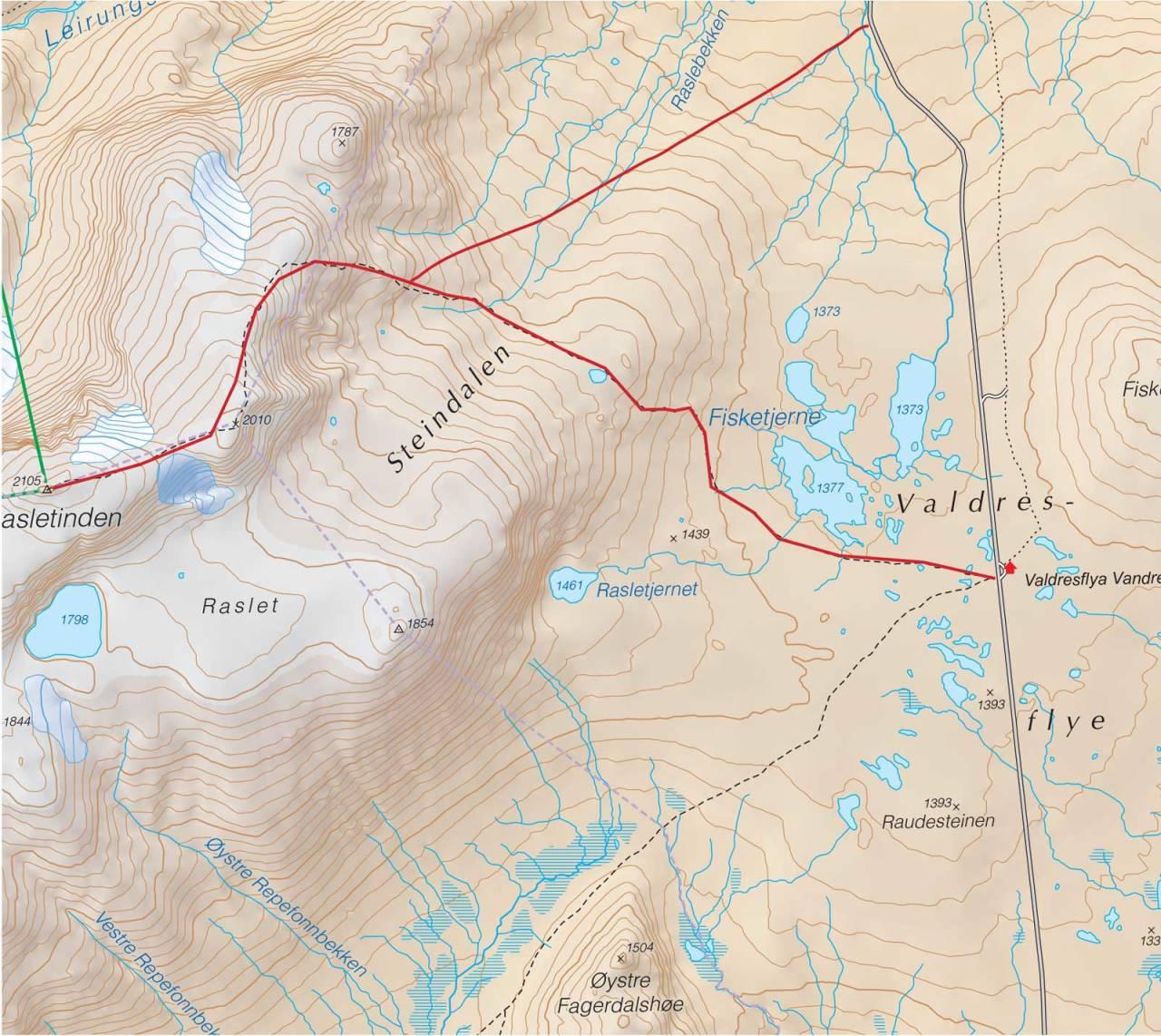 Kart over Rasletinden med inntegnet rute. Fra Trygge toppturer