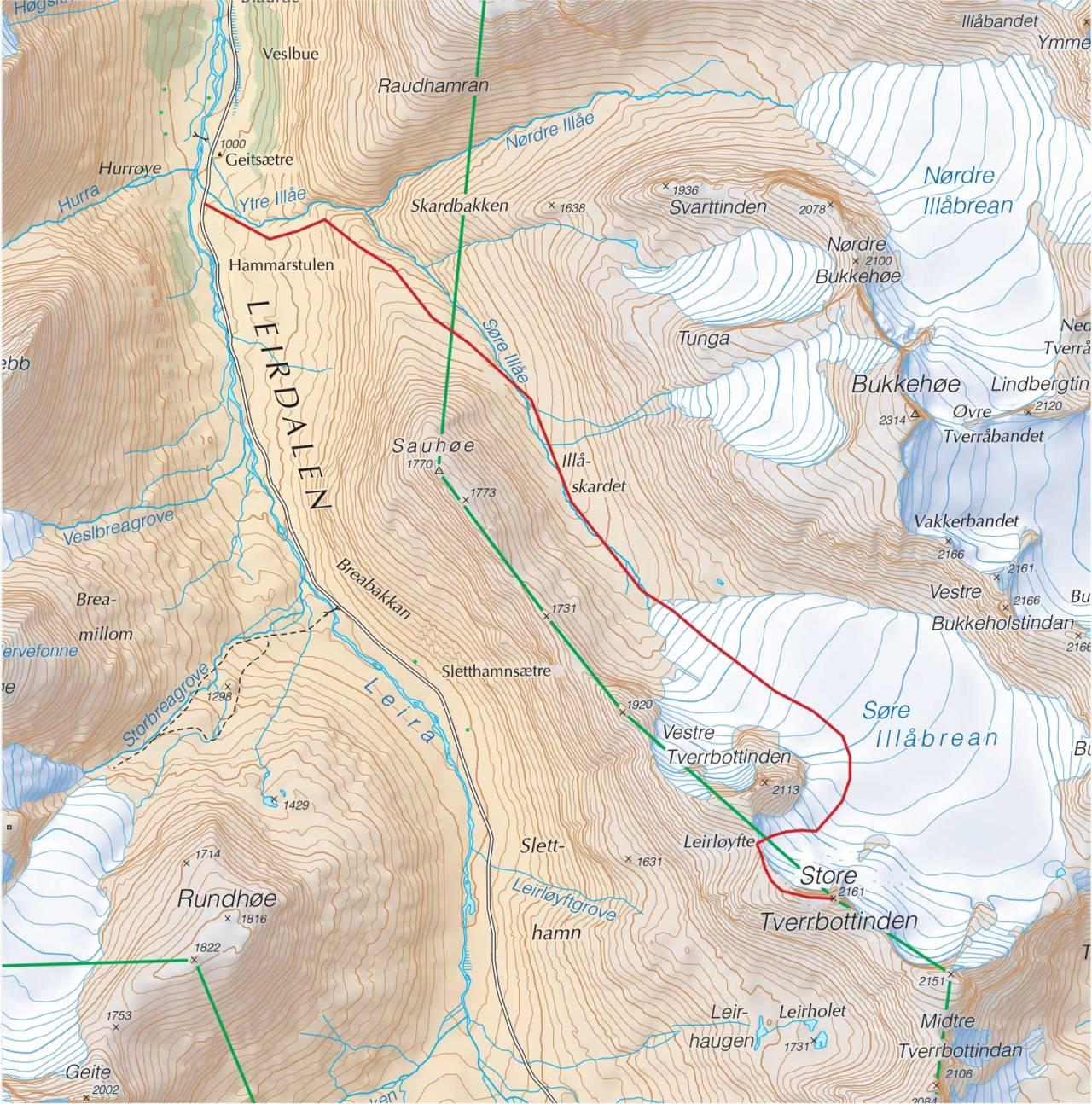 Kart over Store Tverrbotntinden med inntegnet rute. Fra Trygge toppturer