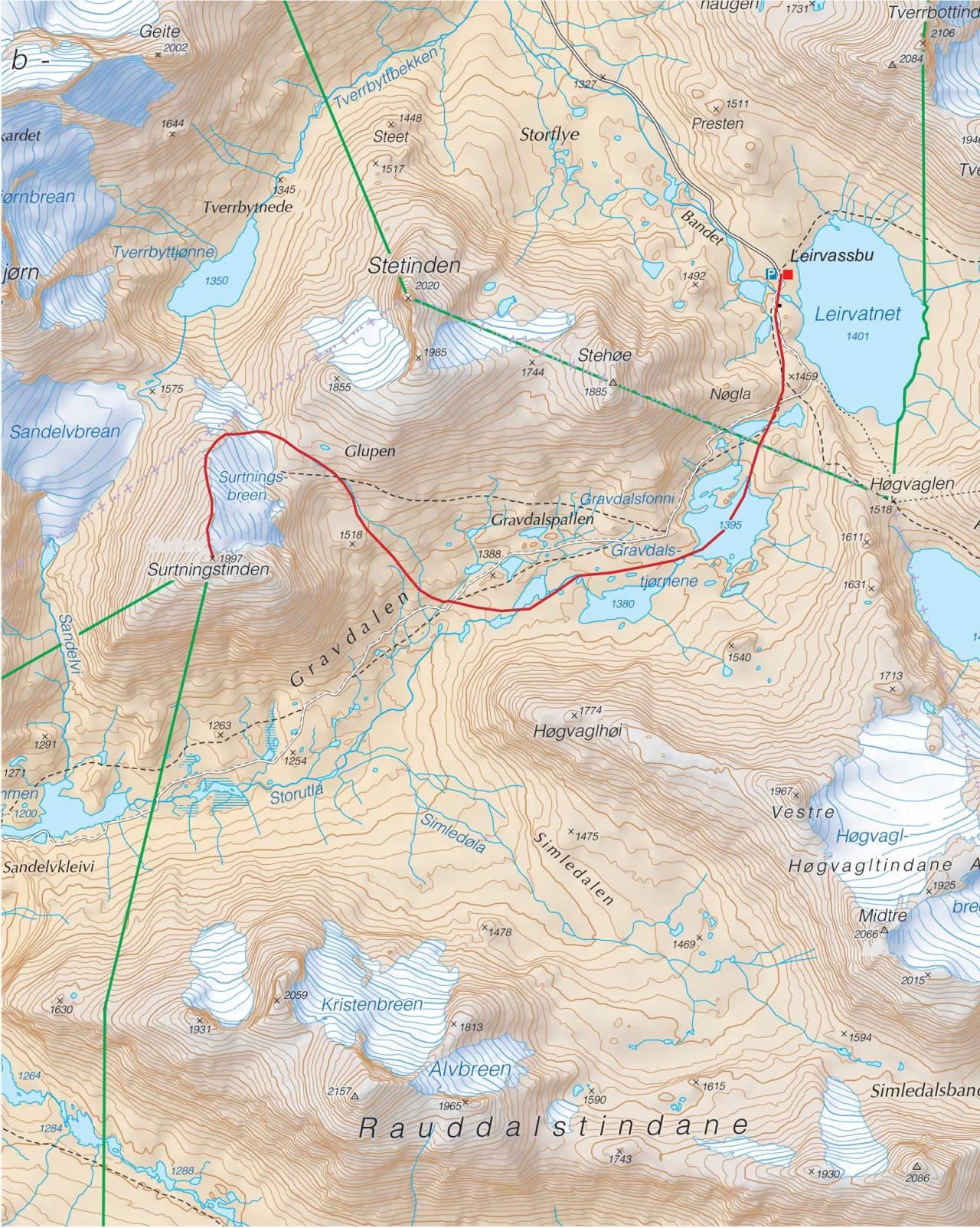 Kart over Surtningstinden med inntegnet rute. Fra Trygge toppturer.