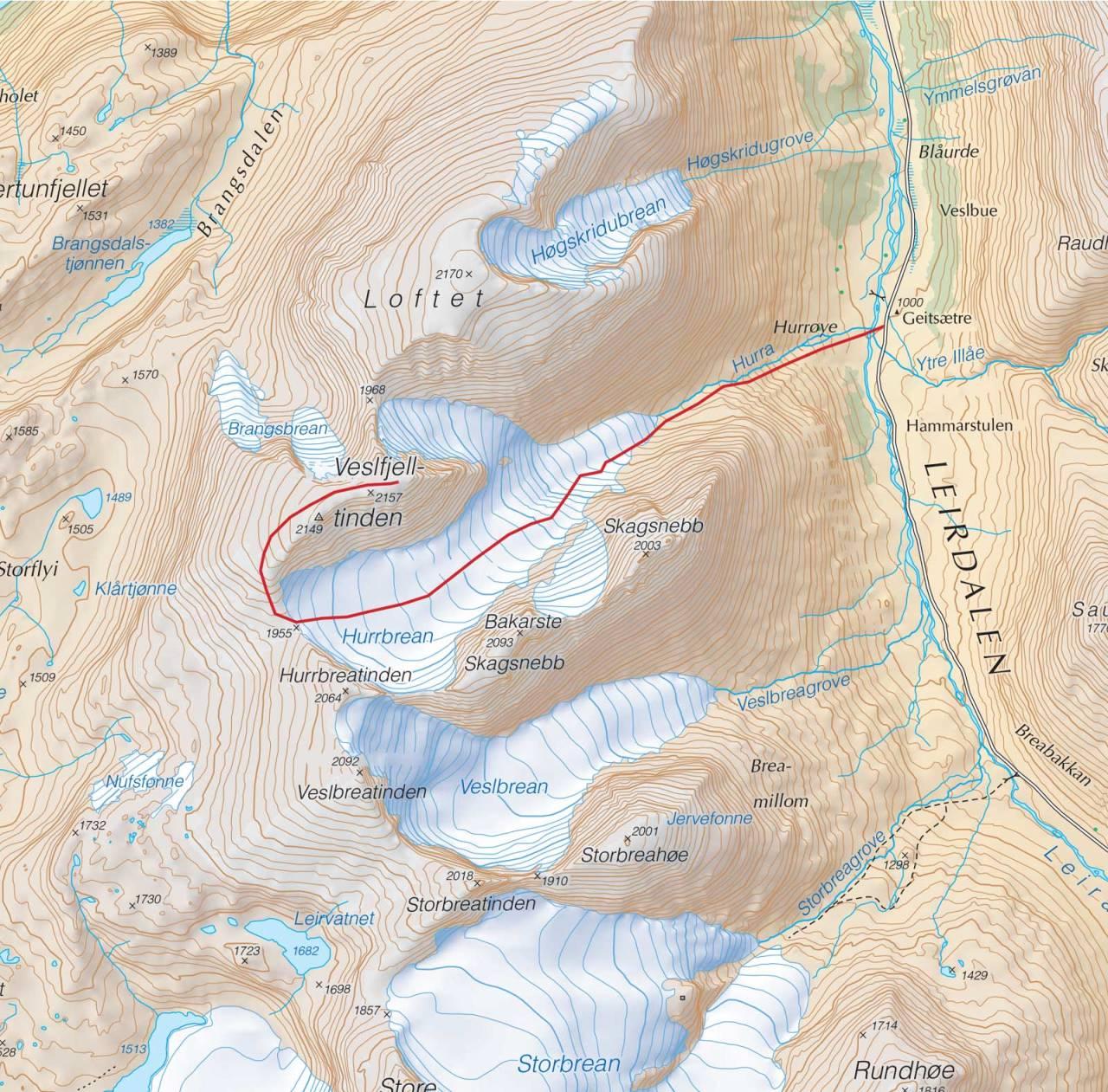 Kart over Veslfjelltinden med inntegnet rute. Fra Trygge toppturer