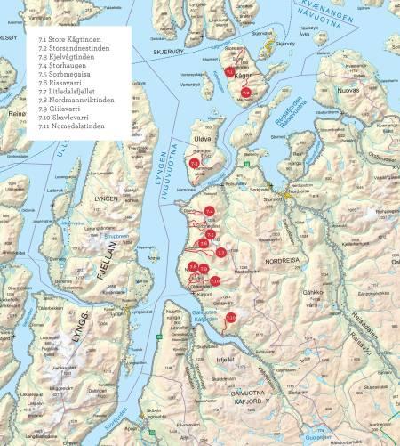 Oversiktskart over Kåfjordalpene, Uløya og Kågen. Fra Toppturer i Troms.