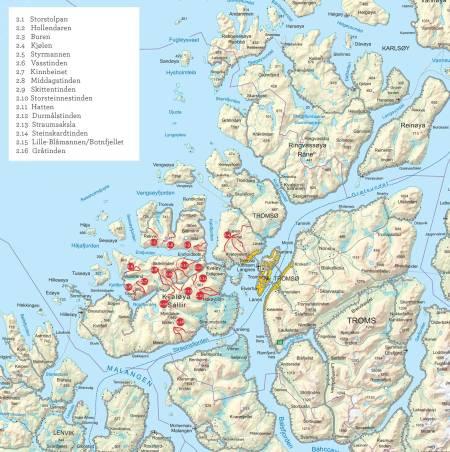 Oversiktskart over Kvaløya. Fra Toppturer i Troms.